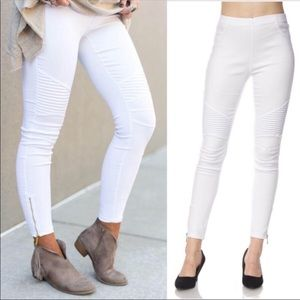 Ladies White Moto Pants with Zipper Ankle